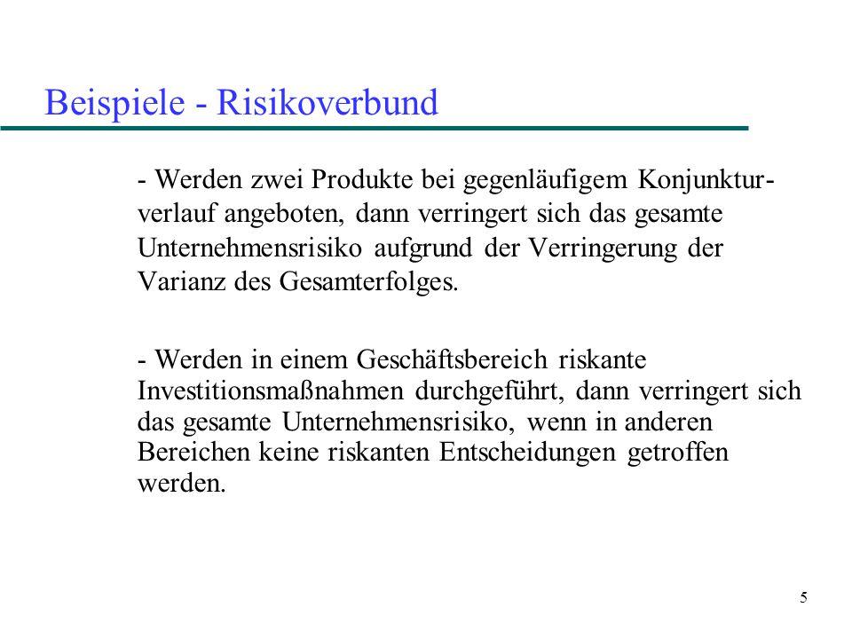 5 Beispiele - Risikoverbund - Werden zwei Produkte bei gegenläufigem Konjunktur- verlauf angeboten, dann verringert sich das gesamte Unternehmensrisiko aufgrund der Verringerung der Varianz des Gesamterfolges.