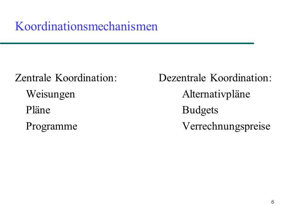 6 Koordinationsmechanismen Zentrale Koordination: Dezentrale Koordination: Weisungen Alternativpläne Pläne Budgets Programme Verrechnungspreise