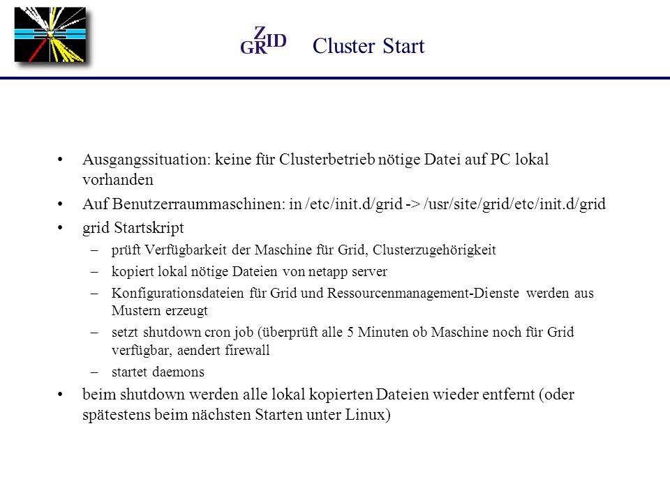 Verwaltung Jeder Cluster ist einer (oder mehren) Gruppen zugeordnet, jeweils ein Administrator stellt mit einer zweiten Zeittabelle die tatsächliche Betriebszeit ein, die Tabelle kann von einem Webbrowser aus geändert werden (Authentifizierung mit Zertifikat von der AustrianGrid Zertifizierungsstelle) eine Konfigurationsdatei mit Informationen für alle Cluster (z.B.