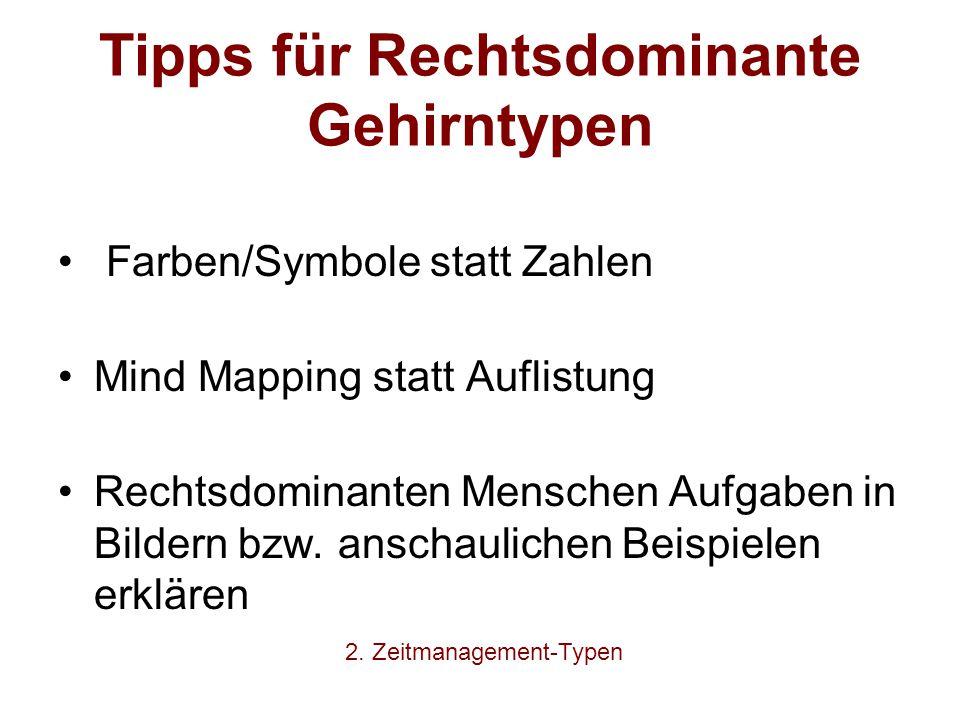 Tipps für Rechtsdominante Gehirntypen Farben/Symbole statt Zahlen Mind Mapping statt Auflistung Rechtsdominanten Menschen Aufgaben in Bildern bzw. ans