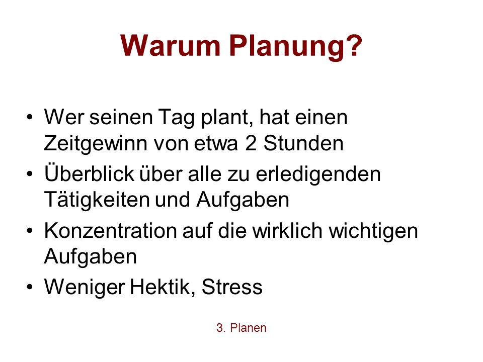 Warum Planung? Wer seinen Tag plant, hat einen Zeitgewinn von etwa 2 Stunden Überblick über alle zu erledigenden Tätigkeiten und Aufgaben Konzentratio