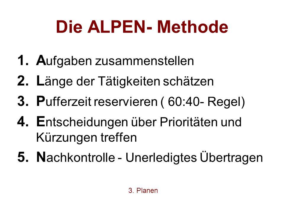 Die ALPEN- Methode 1.A ufgaben zusammenstellen 2.L änge der Tätigkeiten schätzen 3.P ufferzeit reservieren ( 60:40- Regel) 4.E ntscheidungen über Prio