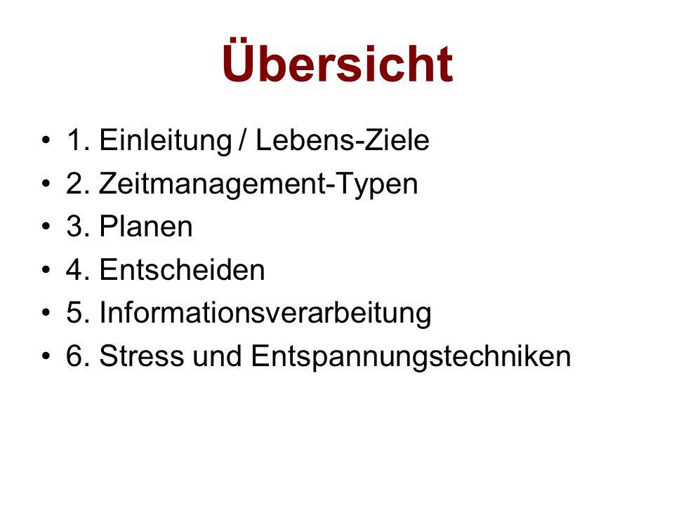 Übersicht 1. Einleitung / Lebens-Ziele 2. Zeitmanagement-Typen 3. Planen 4. Entscheiden 5. Informationsverarbeitung 6. Stress und Entspannungstechnike