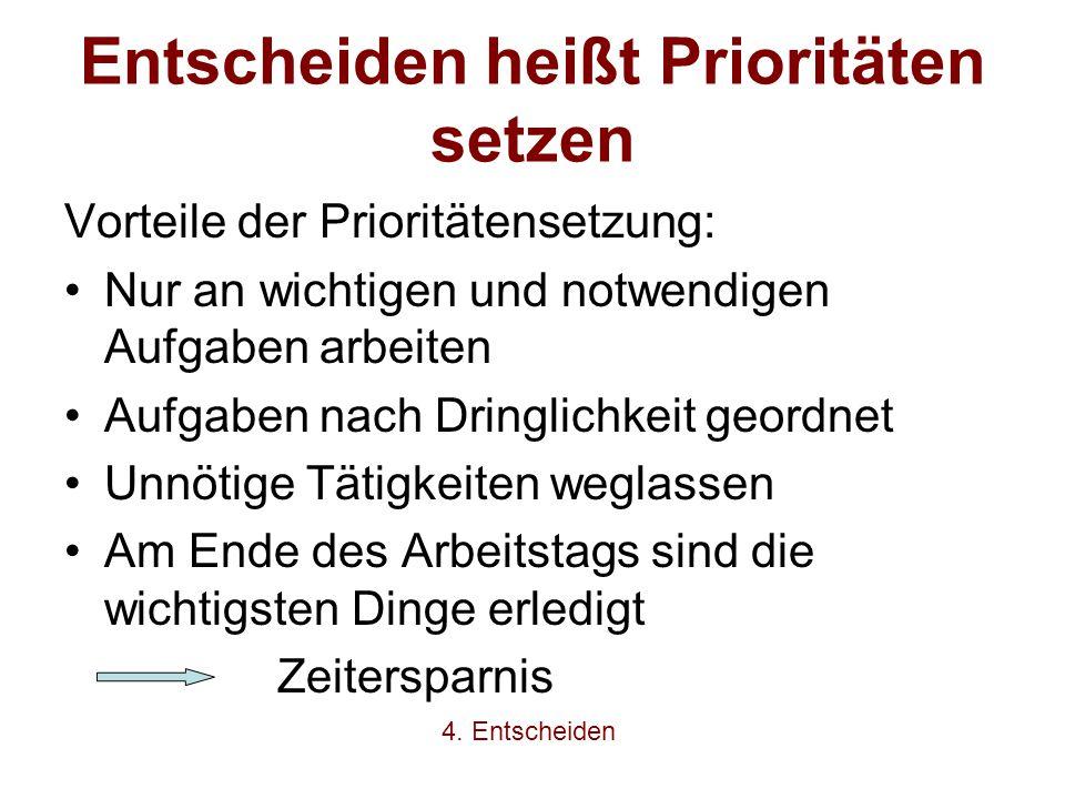 Entscheiden heißt Prioritäten setzen Vorteile der Prioritätensetzung: Nur an wichtigen und notwendigen Aufgaben arbeiten Aufgaben nach Dringlichkeit g