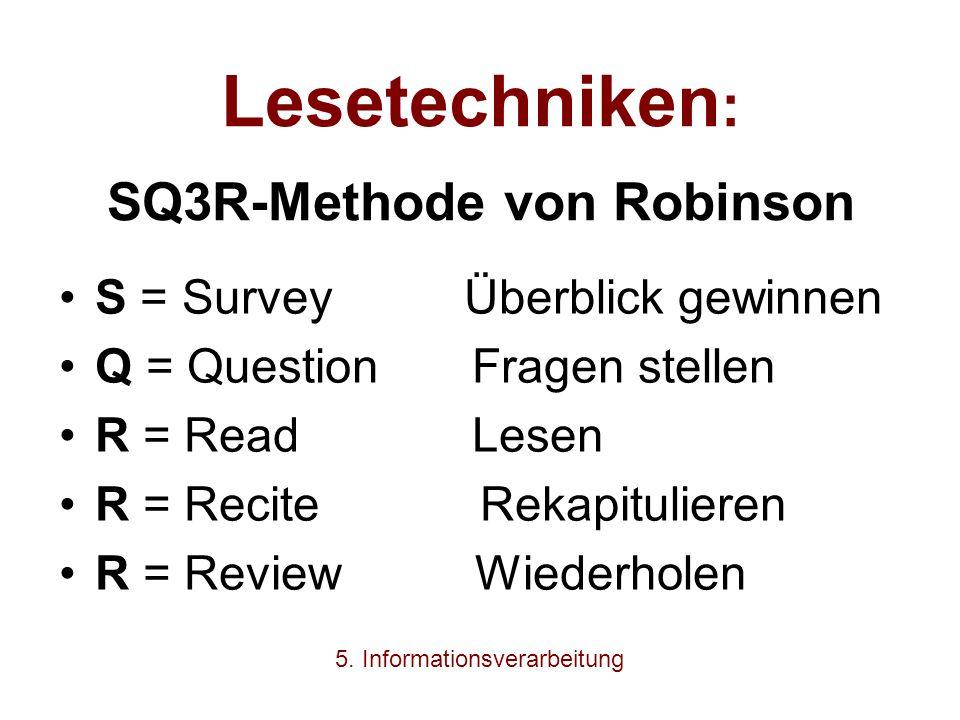 Lesetechniken : SQ3R-Methode von Robinson S = Survey Überblick gewinnen Q = Question Fragen stellen R = Read Lesen R = Recite Rekapitulieren R = Revie