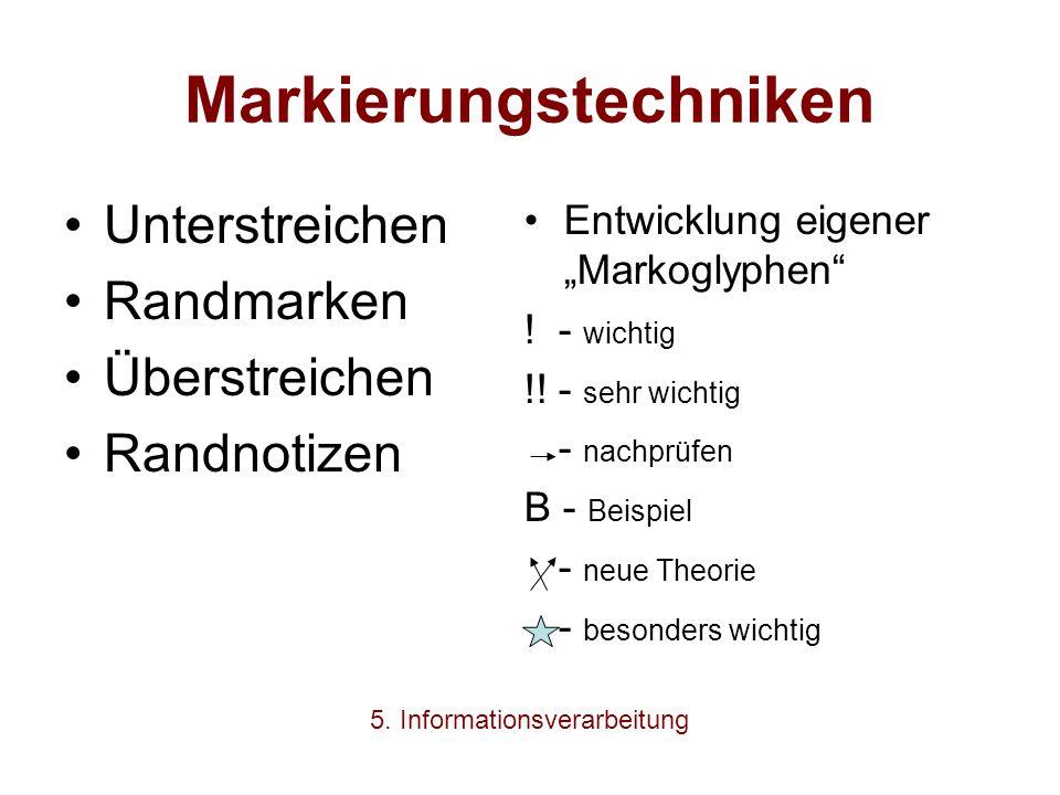 """Markierungstechniken Unterstreichen Randmarken Überstreichen Randnotizen Entwicklung eigener """"Markoglyphen"""" ! - wichtig !! - sehr wichtig - nachprüfen"""