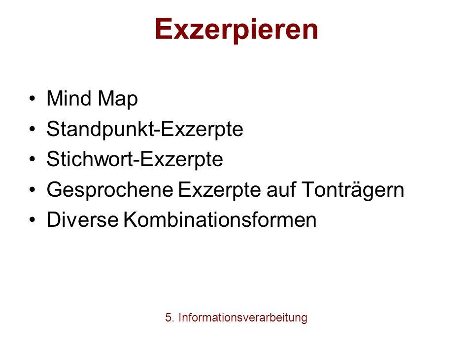 Exzerpieren Mind Map Standpunkt-Exzerpte Stichwort-Exzerpte Gesprochene Exzerpte auf Tonträgern Diverse Kombinationsformen 5. Informationsverarbeitung