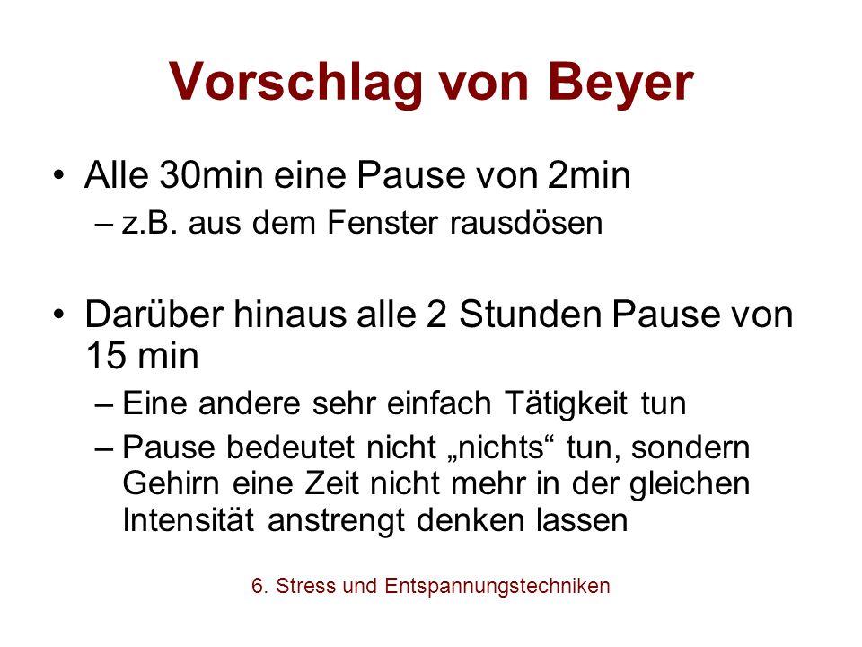 Vorschlag von Beyer Alle 30min eine Pause von 2min –z.B. aus dem Fenster rausdösen Darüber hinaus alle 2 Stunden Pause von 15 min –Eine andere sehr ei