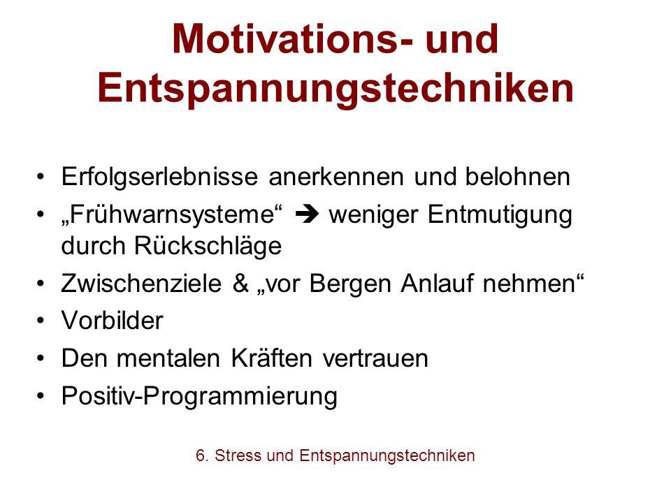"""Motivations- und Entspannungstechniken Erfolgserlebnisse anerkennen und belohnen """"Frühwarnsysteme""""  weniger Entmutigung durch Rückschläge Zwischenzie"""