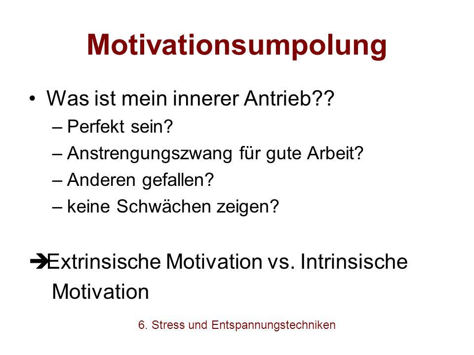 Motivationsumpolung Was ist mein innerer Antrieb?? –Perfekt sein? –Anstrengungszwang für gute Arbeit? –Anderen gefallen? –keine Schwächen zeigen?  Ex