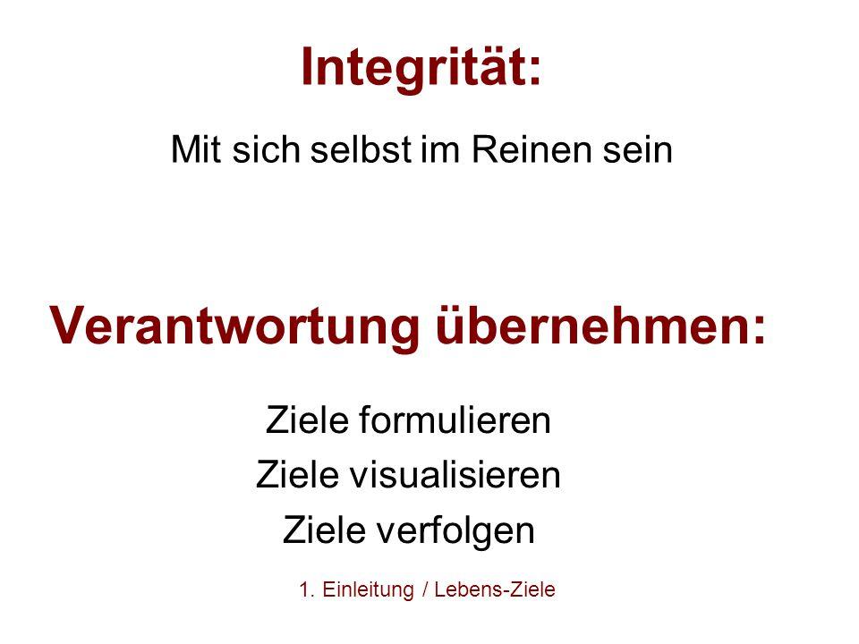 Integrität: Mit sich selbst im Reinen sein Verantwortung übernehmen: Ziele formulieren Ziele visualisieren Ziele verfolgen 1. Einleitung / Lebens-Ziel