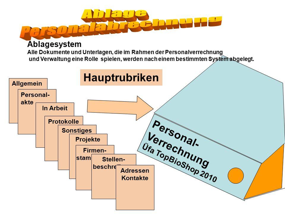 Personal- Verrechnung Üfa TopBioShop 2010 Ablagesystem Alle Dokumente und Unterlagen, die im Rahmen der Personalverrechnung und Verwaltung eine Rolle