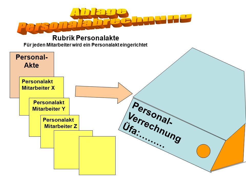 Personal- Verrechnung Üfa:……… Rubrik Personalakte Für jeden Mitarbeiter wird ein Personalakt eingerichtet Personal- Akte Personalakt Mitarbeiter X Per