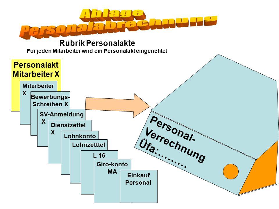 Personal- Verrechnung Üfa:……… Rubrik Personalakte Für jeden Mitarbeiter wird ein Personalakt eingerichtet Personalakt Mitarbeiter X Mitarbeiter X Bewe