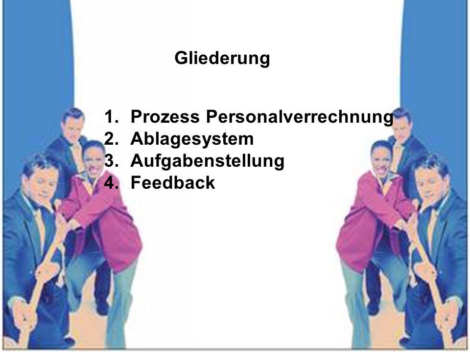 Gliederung 1.Prozess Personalverrechnung 2.Ablagesystem 3.Aufgabenstellung 4.Feedback