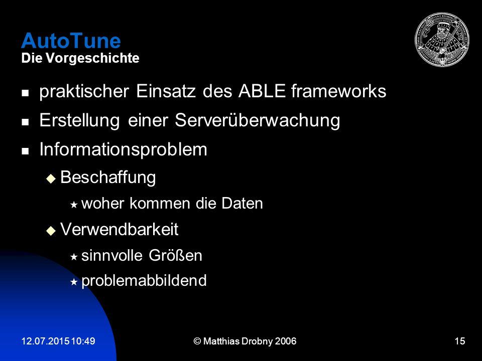 12.07.2015 10:51 © Matthias Drobny 2006 15 AutoTune Die Vorgeschichte praktischer Einsatz des ABLE frameworks Erstellung einer Serverüberwachung Infor
