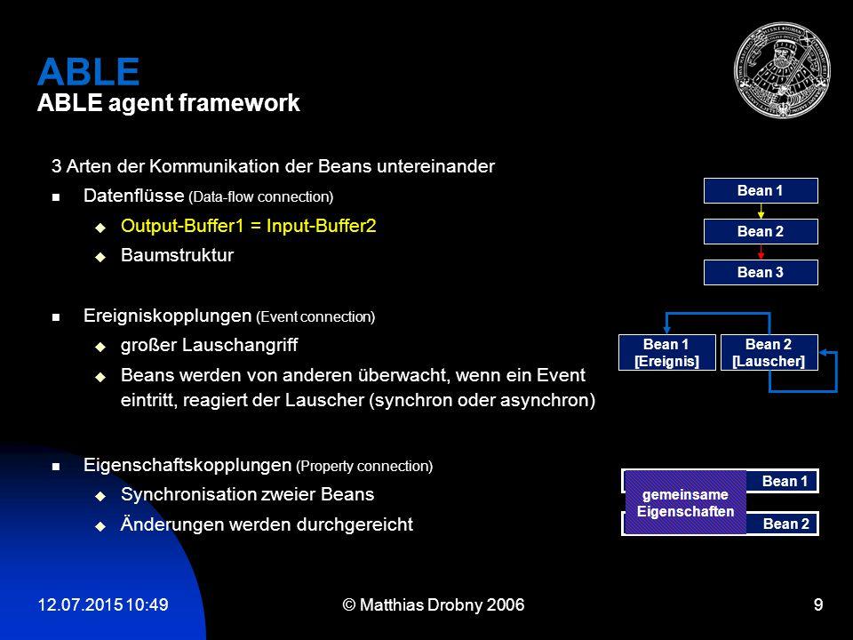 12.07.2015 10:51 © Matthias Drobny 2006 9 ABLE ABLE agent framework Eigenschaftskopplungen (Property connection)  Synchronisation zweier Beans  Ände
