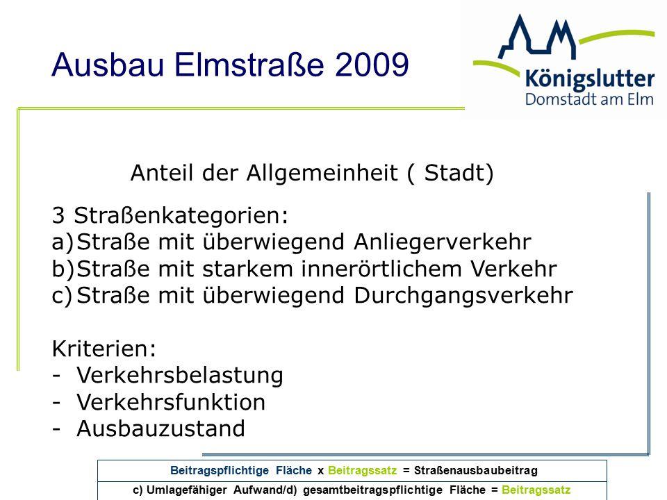 Ausbau Elmstraße 2009 Anteil der Allgemeinheit ( Stadt) 3 Straßenkategorien: a)Straße mit überwiegend Anliegerverkehr b)Straße mit starkem innerörtlic