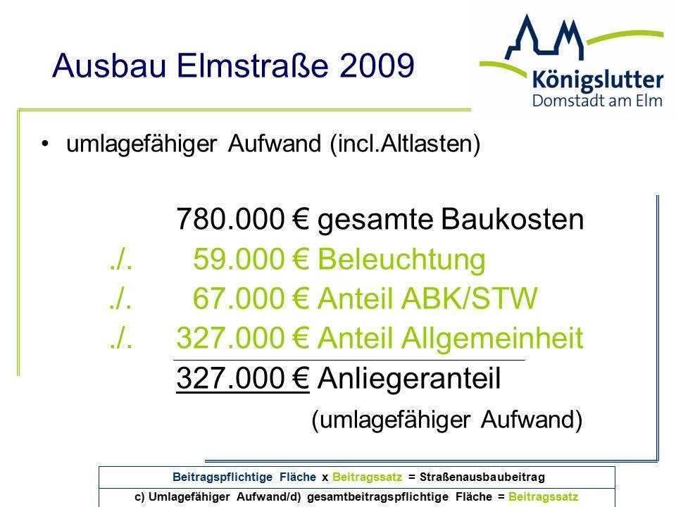 Ausbau Elmstraße 2009 umlagefähiger Aufwand (incl.Altlasten) 780.000 € gesamte Baukosten./. 59.000 € Beleuchtung./. 67.000 € Anteil ABK/STW./.327.000