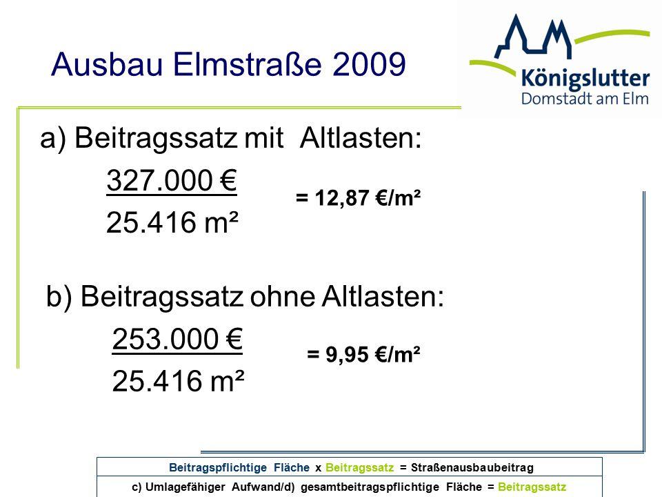 Ausbau Elmstraße 2009 a) Beitragssatz mit Altlasten: 327.000 € 25.416 m² = 12,87 €/m² Beitragspflichtige Fläche x Beitragssatz = Straßenausbaubeitrag
