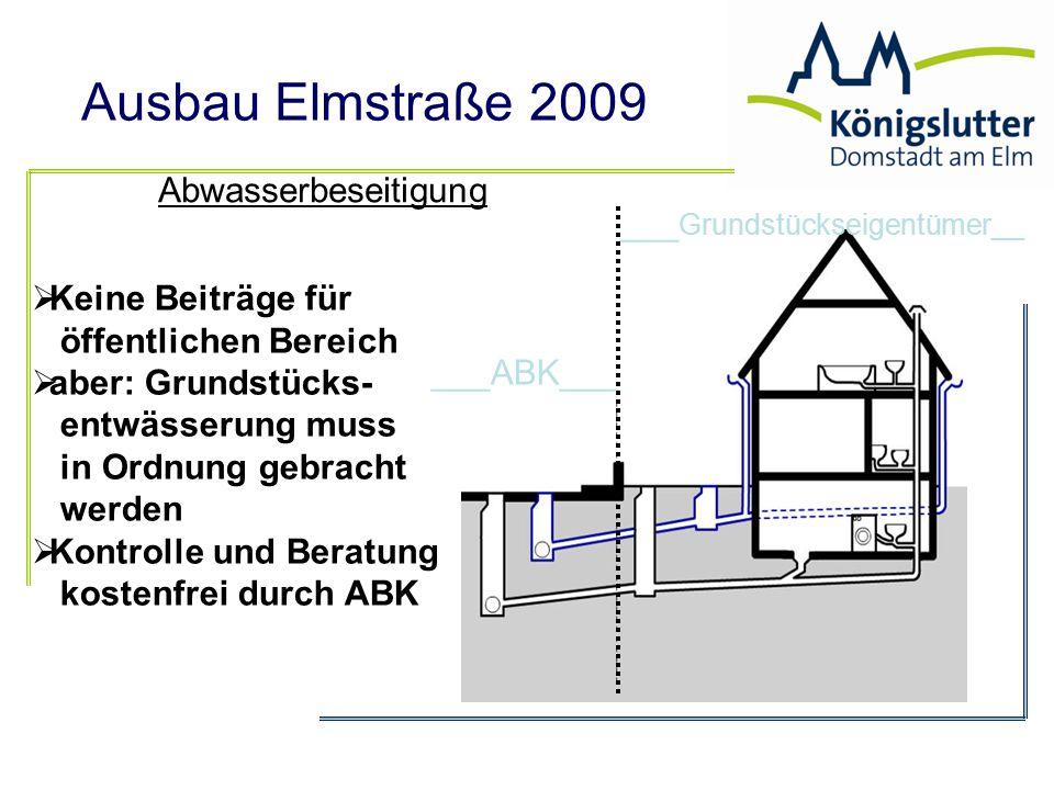 Ausbau Elmstraße 2009 ___ABK___ ___ Grundstückseigentümer__ Abwasserbeseitigung  Keine Beiträge für öffentlichen Bereich  aber: Grundstücks- entwäss