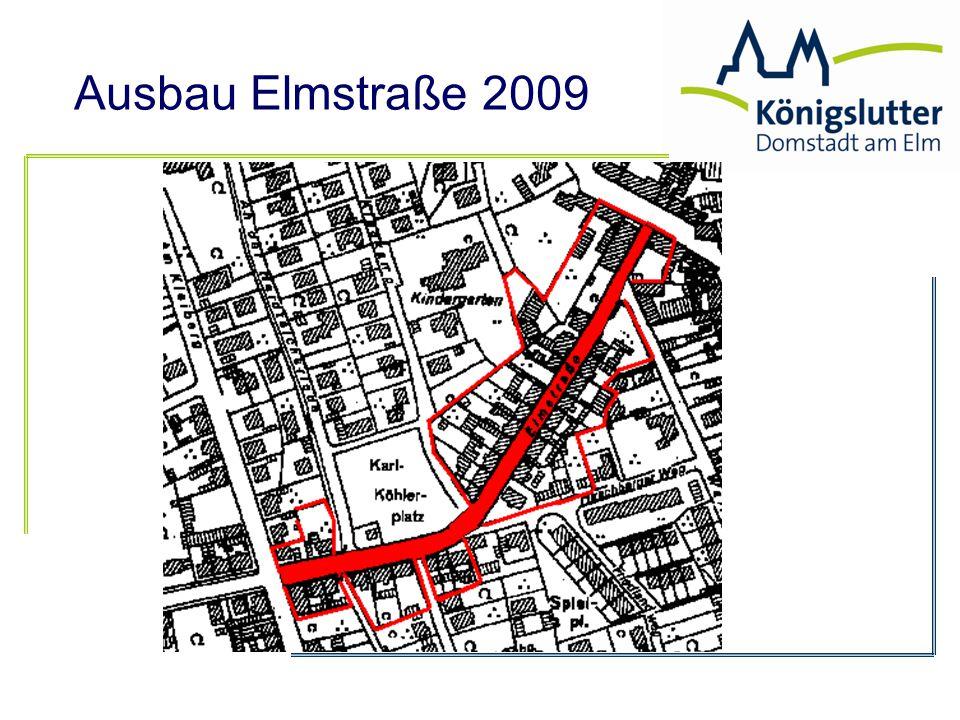 Ausbau Elmstraße 2009 a) Beitragssatz mit Altlasten: 327.000 € 25.416 m² = 12,87 €/m² Beitragspflichtige Fläche x Beitragssatz = Straßenausbaubeitrag c) Umlagefähiger Aufwand/d) gesamtbeitragspflichtige Fläche = Beitragssatz b) Beitragssatz ohne Altlasten: 253.000 € 25.416 m² = 9,95 €/m²
