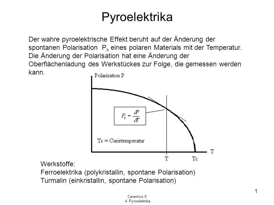 Ceramics II 4. Pyroelektrika 1 Pyroelektrika Der wahre pyroelektrische Effekt beruht auf der Änderung der spontanen Polarisation P s eines polaren Mat