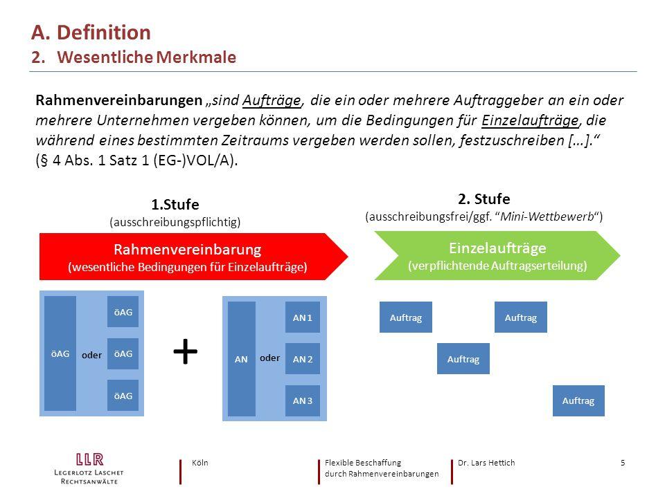 """KölnFlexible Beschaffung Dr. Lars Hettich durch Rahmenvereinbarungen 5 A. Definition 2. Wesentliche Merkmale Rahmenvereinbarungen """"sind Aufträge, die"""