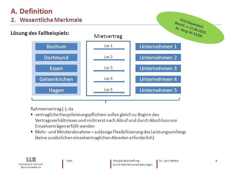 KölnFlexible Beschaffung Dr. Lars Hettich durch Rahmenvereinbarungen 6 A. Definition 2. Wesentliche Merkmale Bochum Dortmund Essen Gelsenkirchen Hagen