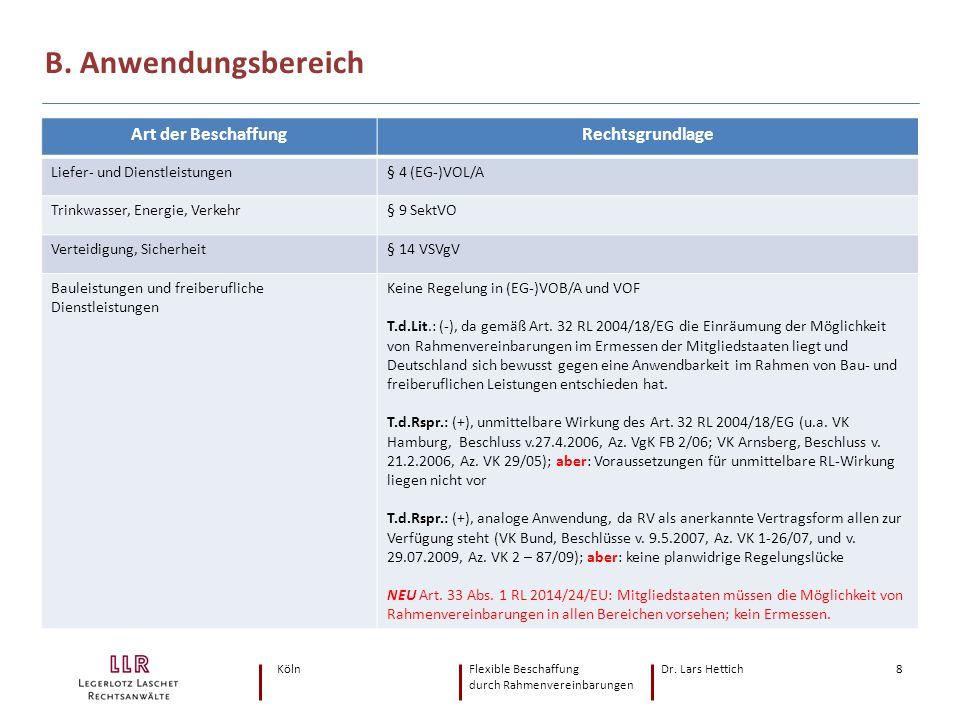 KölnFlexible Beschaffung Dr. Lars Hettich durch Rahmenvereinbarungen 8 B. Anwendungsbereich Art der BeschaffungRechtsgrundlage Liefer- und Dienstleist