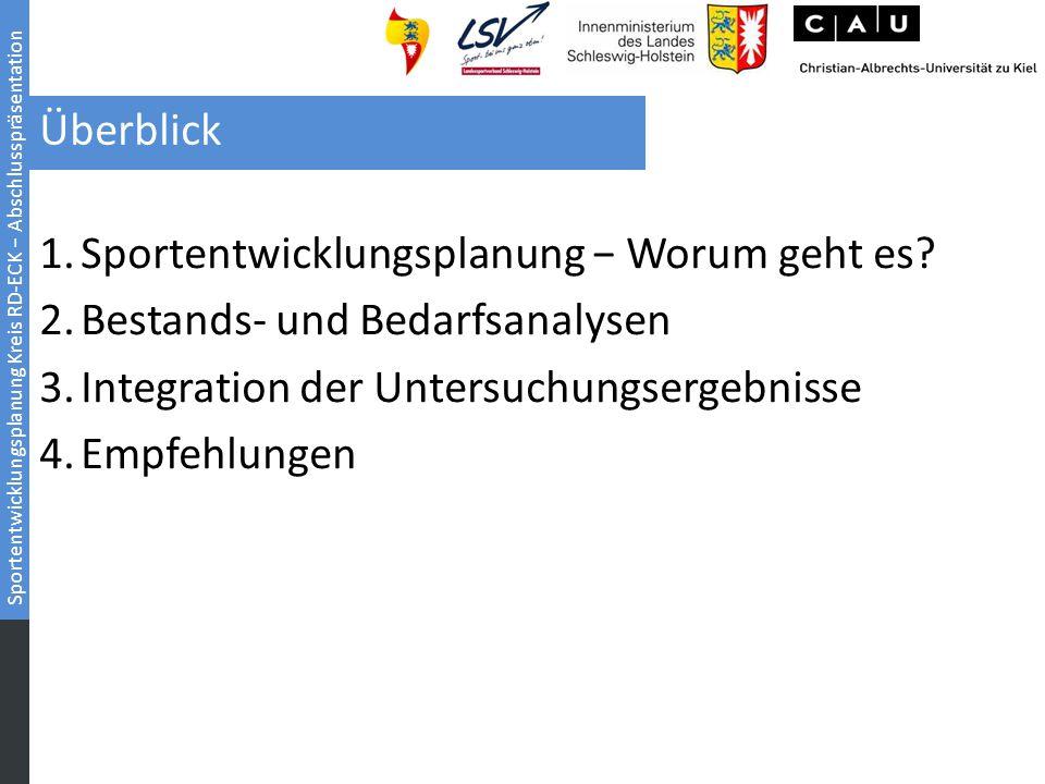 Sportentwicklungsplanung Kreis RD-ECK − Abschlusspräsentation Überblick 1.Sportentwicklungsplanung − Worum geht es? 2.Bestands- und Bedarfsanalysen 3.