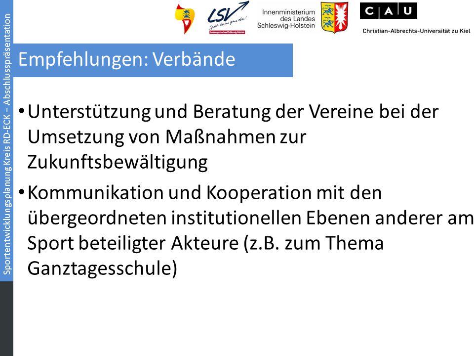 Sportentwicklungsplanung Kreis RD-ECK − Abschlusspräsentation Empfehlungen: Verbände Unterstützung und Beratung der Vereine bei der Umsetzung von Maßn