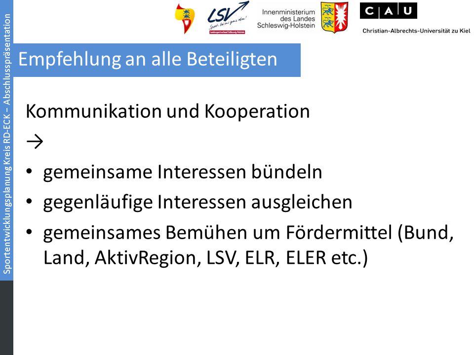 Sportentwicklungsplanung Kreis RD-ECK − Abschlusspräsentation Empfehlung an alle Beteiligten Kommunen Kommunikation und Kooperation → gemeinsame Inter