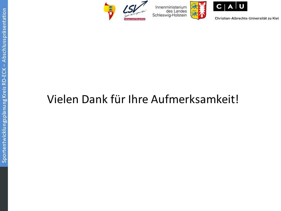 Sportentwicklungsplanung Kreis RD-ECK − Abschlusspräsentation Vielen Dank für Ihre Aufmerksamkeit!