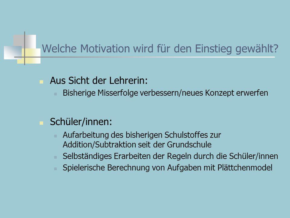Welche Motivation wird für den Einstieg gewählt? Aus Sicht der Lehrerin: Bisherige Misserfolge verbessern/neues Konzept erwerfen Schüler/innen: Aufarb