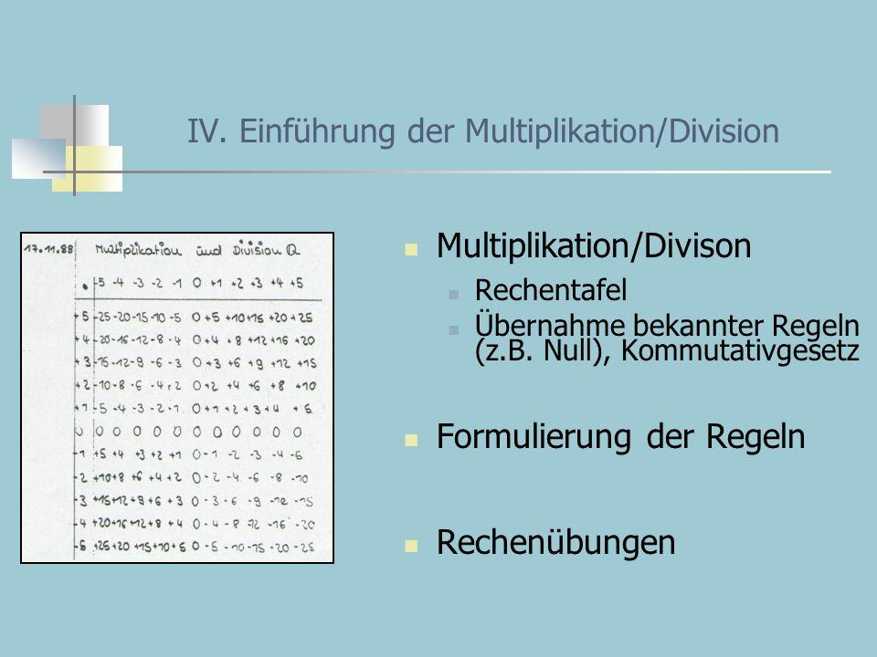 IV. Einführung der Multiplikation/Division Multiplikation/Divison Rechentafel Übernahme bekannter Regeln (z.B. Null), Kommutativgesetz Formulierung de