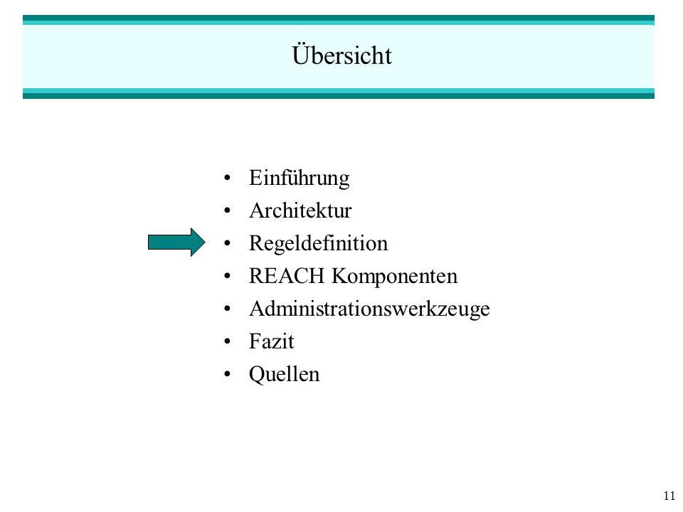 11 Übersicht Einführung Architektur Regeldefinition REACH Komponenten Administrationswerkzeuge Fazit Quellen
