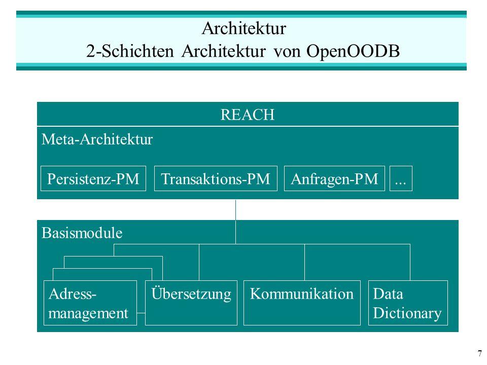 7 Architektur 2-Schichten Architektur von OpenOODB Basismodule Meta-Architektur Persistenz-PMTransaktions-PMAnfragen-PM...