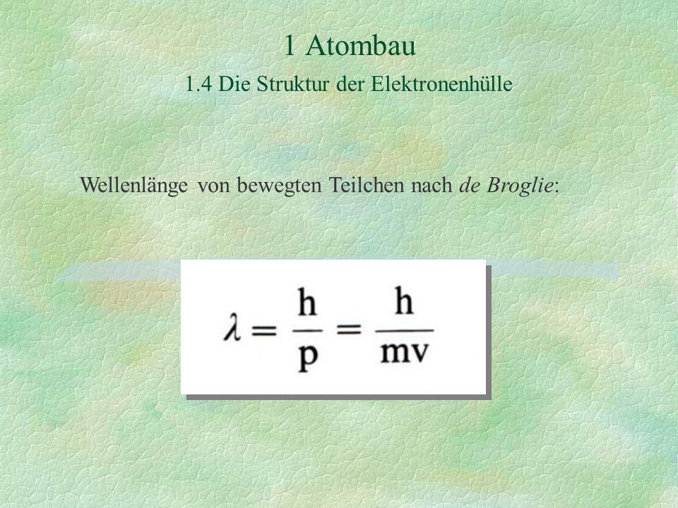 1 Atombau 1.4 Die Struktur der Elektronenhülle Wellenlänge von bewegten Teilchen nach de Broglie: