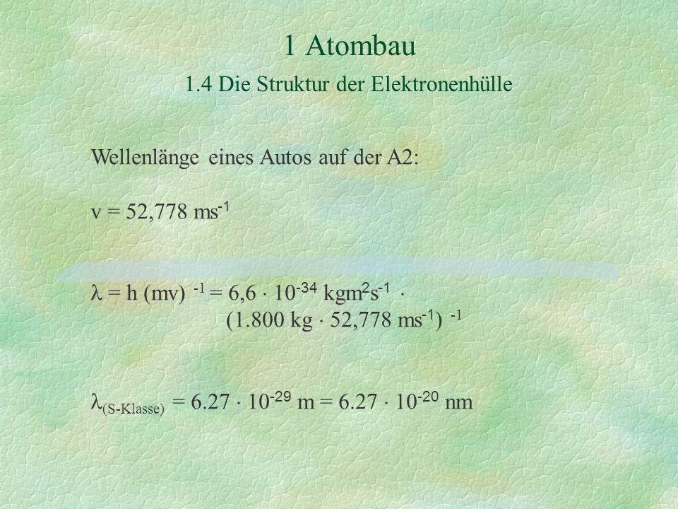 1 Atombau 1.4 Die Struktur der Elektronenhülle Wellenlänge eines Autos auf der A2: v = 52,778 ms -1 = h (mv) -1 = 6,6  10 -34 kgm 2 s -1  (1.800 kg  52,778 ms -1 ) -1 (S-Klasse) = 6.27  10 -29 m = 6.27  10 -20 nm