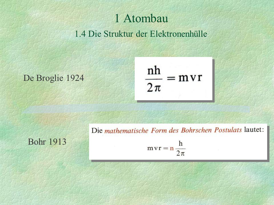 1 Atombau 1.4 Die Struktur der Elektronenhülle De Broglie 1924 Bohr 1913