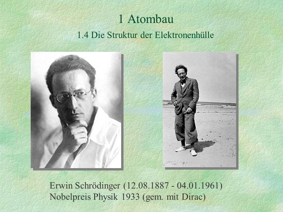 1 Atombau 1.4 Die Struktur der Elektronenhülle Erwin Schrödinger (12.08.1887 - 04.01.1961) Nobelpreis Physik 1933 (gem. mit Dirac)
