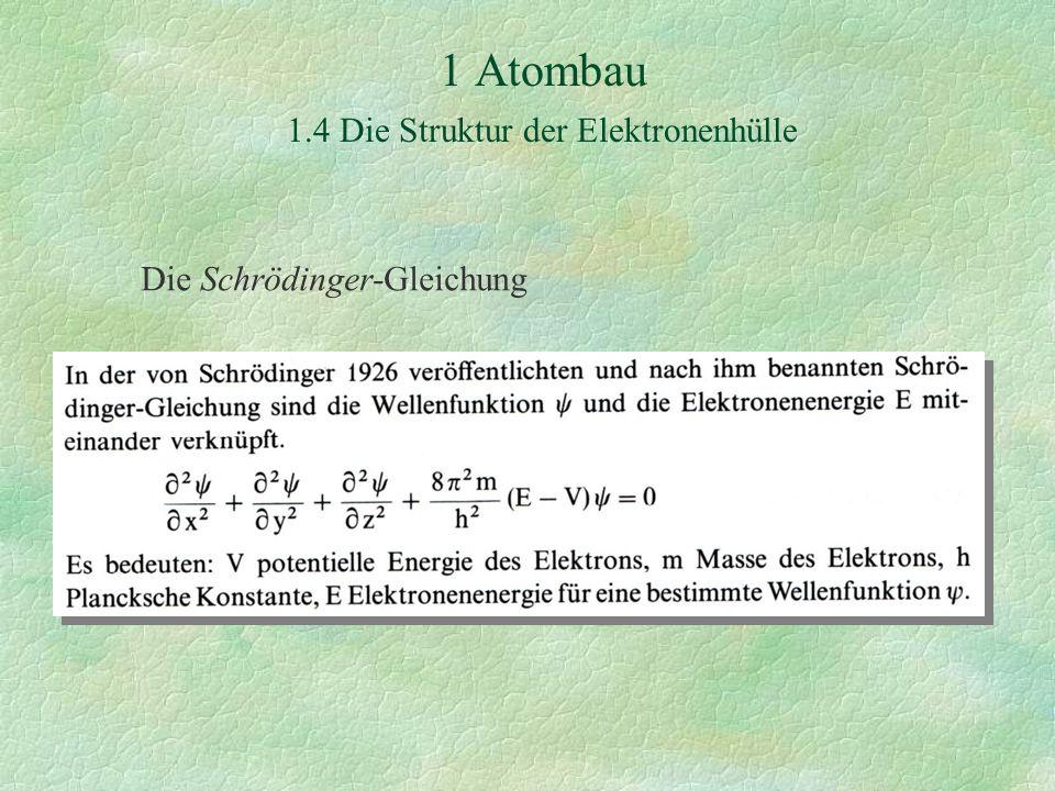 1 Atombau 1.4 Die Struktur der Elektronenhülle Die Schrödinger-Gleichung