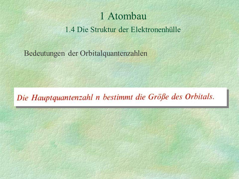 1 Atombau 1.4 Die Struktur der Elektronenhülle Bedeutungen der Orbitalquantenzahlen