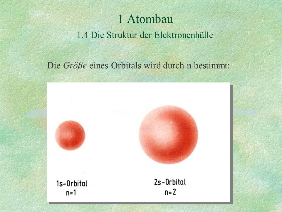 1 Atombau 1.4 Die Struktur der Elektronenhülle Die Größe eines Orbitals wird durch n bestimmt: