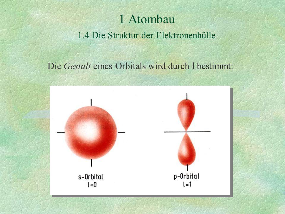 1 Atombau 1.4 Die Struktur der Elektronenhülle Die Gestalt eines Orbitals wird durch l bestimmt: