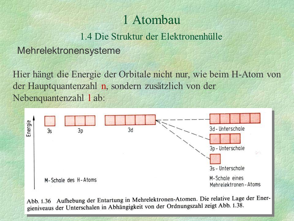 Mehrelektronensysteme Hier hängt die Energie der Orbitale nicht nur, wie beim H-Atom von der Hauptquantenzahl n, sondern zusätzlich von der Nebenquantenzahl l ab: