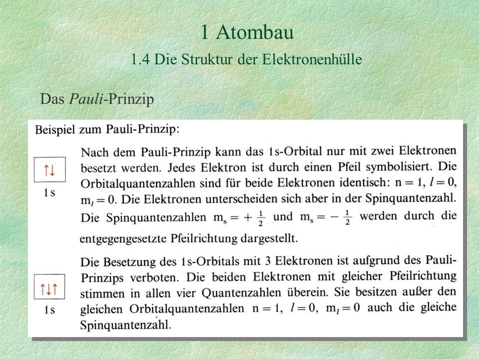 1 Atombau 1.4 Die Struktur der Elektronenhülle Das Pauli-Prinzip