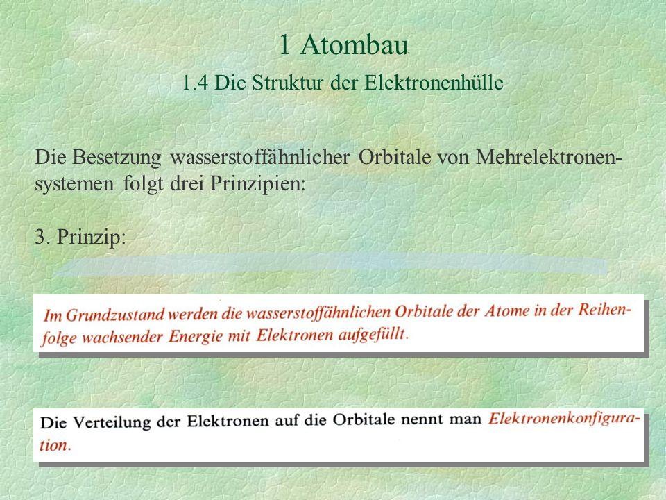 1 Atombau 1.4 Die Struktur der Elektronenhülle Die Besetzung wasserstoffähnlicher Orbitale von Mehrelektronen- systemen folgt drei Prinzipien: 3.
