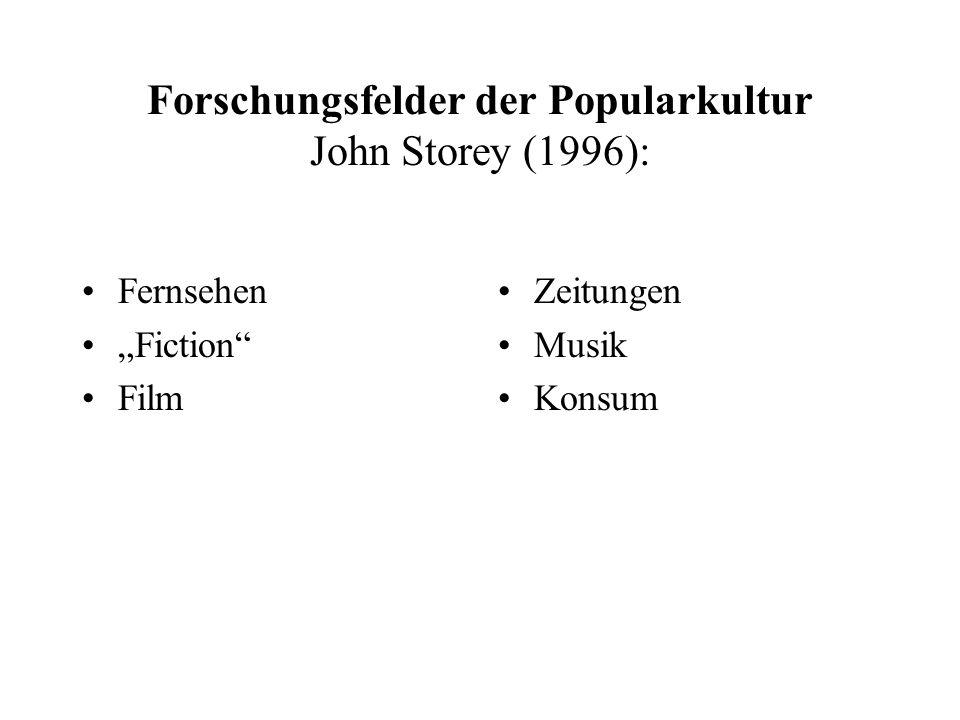 """Forschungsfelder der Popularkultur John Storey (1996): Fernsehen """"Fiction"""" Film Zeitungen Musik Konsum"""